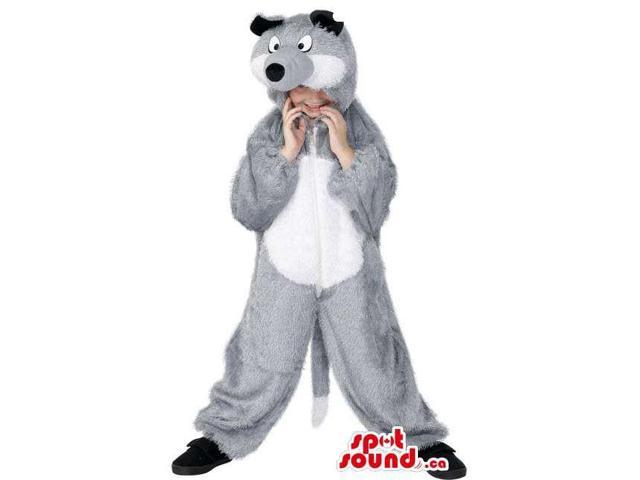 Cute Halloween Grey Raccoon Children Size Plush Costume Disguise