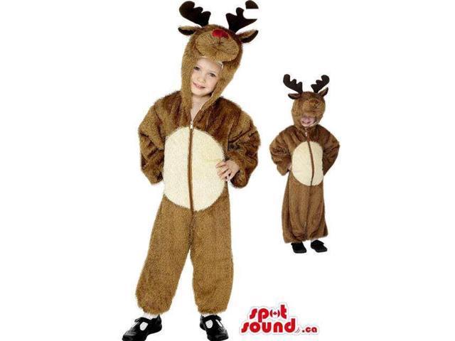 Cute Brown Reindeer Children Size Plush Costume Disguise