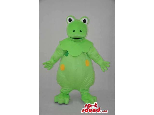 Fairy-Tale Green Round Frog Plush Canadian SpotSound Mascot With Yellow Spots