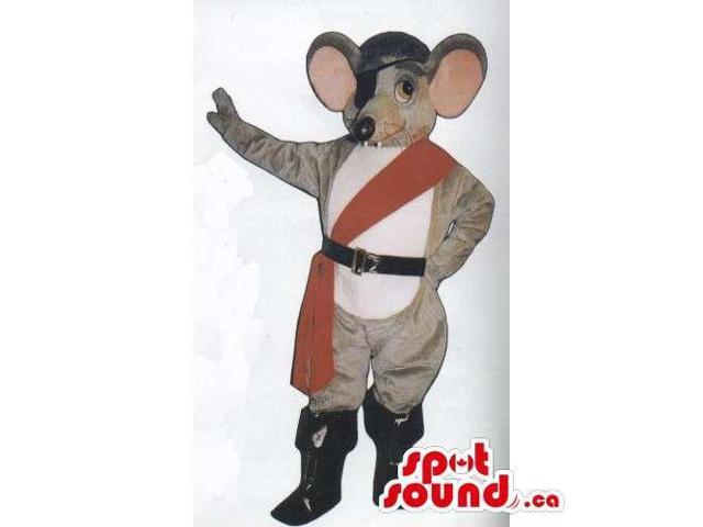 Customised Grey Mouse Animal Canadian SpotSound Mascot With Pirate Patch