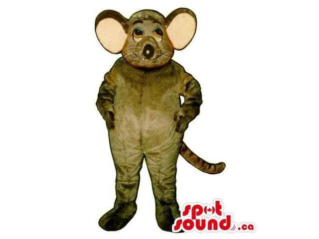 Customised Grey Mouse Animal Canadian SpotSound Mascot With Large Pink Ears