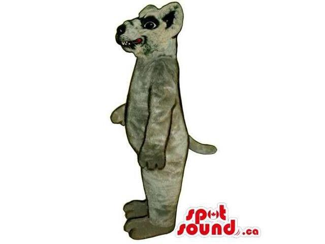 Customised Grey Rat Animal Canadian SpotSound Mascot With Showing Teeth