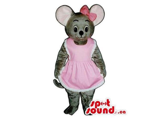 Customised Grey Mouse Animal Plush Canadian SpotSound Mascot Dressed In Girl Gear