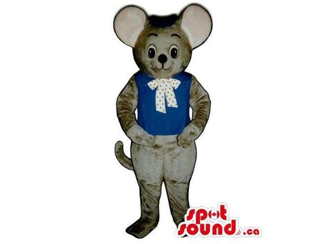 Customised Grey Mouse Animal Plush Canadian SpotSound Mascot Dressed In Boy Gear