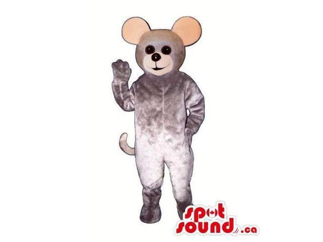 Customised Grey Mouse Canadian SpotSound Mascot With Round Ears And Black Eyes