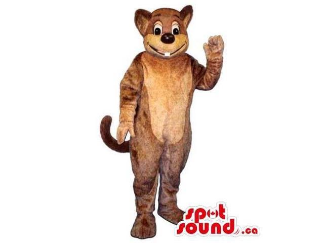 Customised Brown Mouse Animal Canadian SpotSound Mascot With Peculiar Tooth