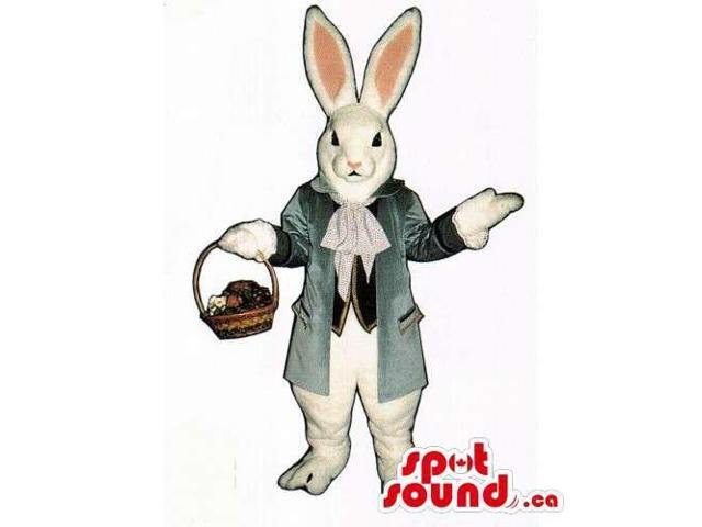 Customised White Rabbit Canadian SpotSound Mascot Dressed In A Jacket With A Basket