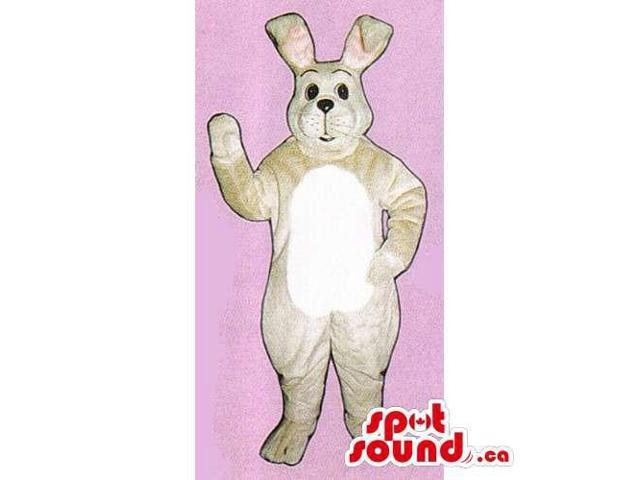 Customised Beige Rabbit Canadian SpotSound Mascot With A White Belly
