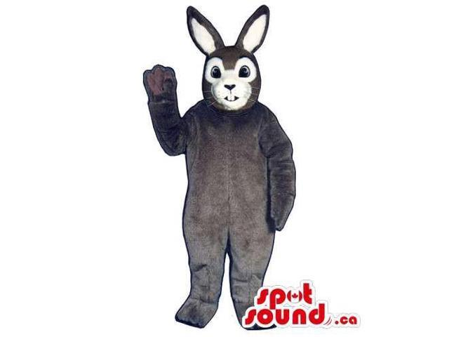 Brown Rabbit Canadian SpotSound Mascot With A White Face Dressed In Overalls