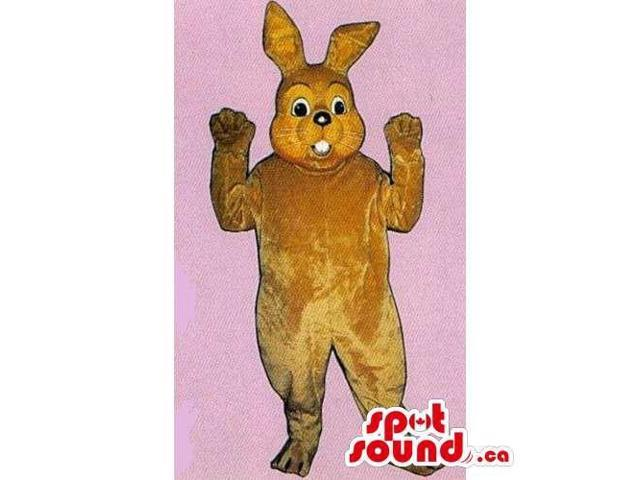 Customised Brown Rabbit Canadian SpotSound Mascot With Showing Teeth