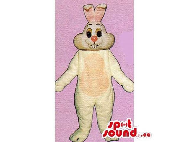 Customised Beige Rabbit Canadian SpotSound Mascot With A Pink Nose And Belly