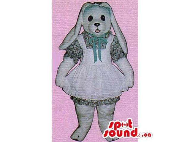 Customised White Rabbit Canadian SpotSound Mascot With Very Long Ears