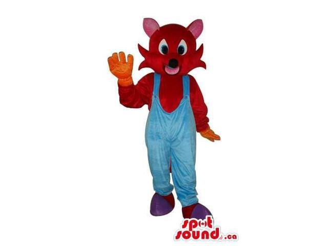 Brown Mouse Animal Plush Canadian SpotSound Mascot Dressed In Blue Overalls