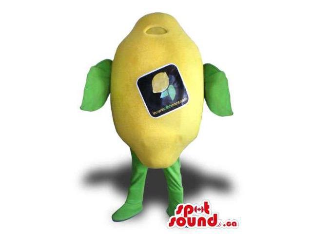 Yellow Lemon Fruit Plush Canadian SpotSound Mascot With A Label And No Face