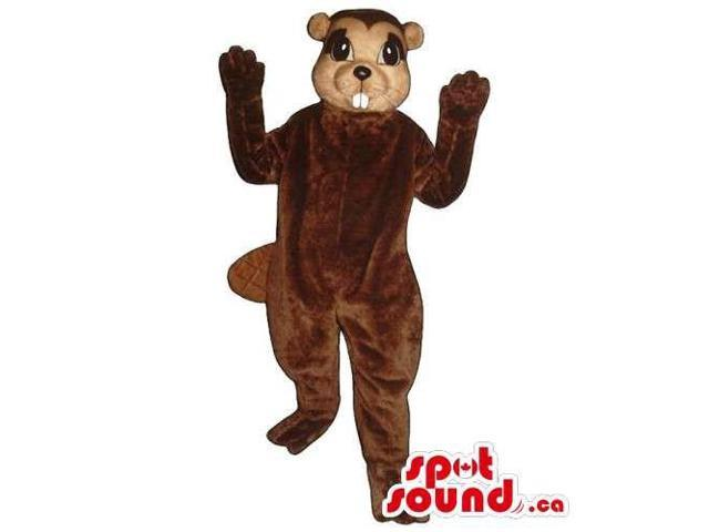 Customised All Brown Chipmunk Animal Canadian SpotSound Mascot With Showing Teeth