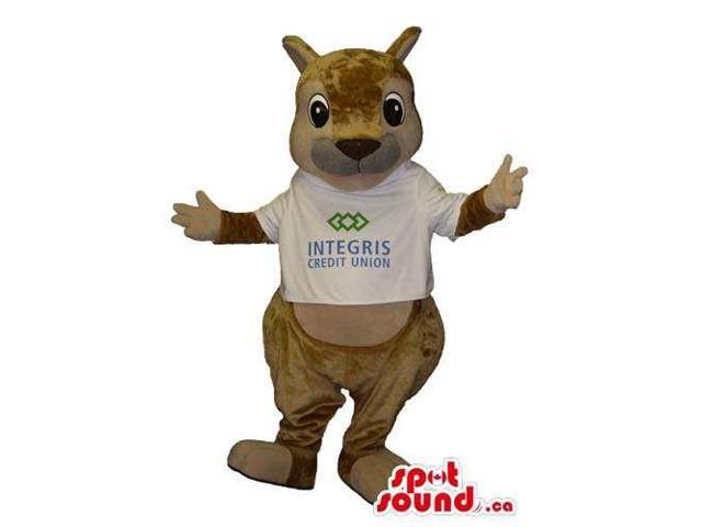 Brown Chipmunk Plush Animal Canadian SpotSound Mascot Dressed In A White T-Shirt