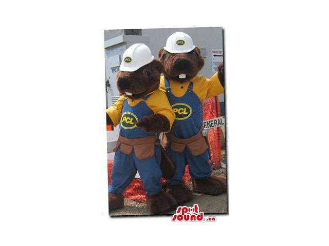Chipmunk Plush Canadian SpotSound Mascots Dressed In Overalls And Helmets