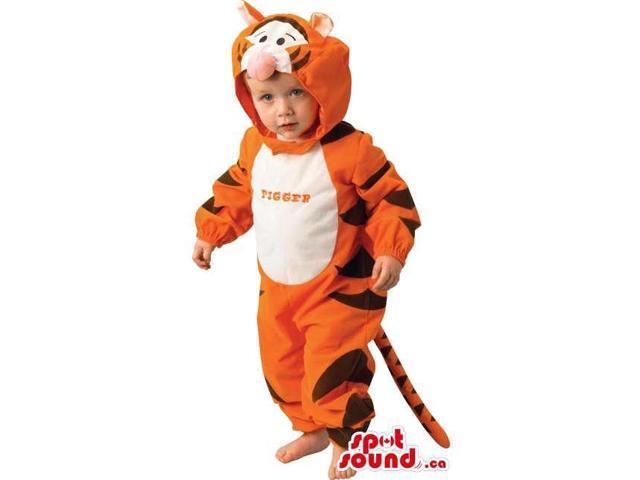 Cute Orange Tiger Children Size Costume Or Disguise