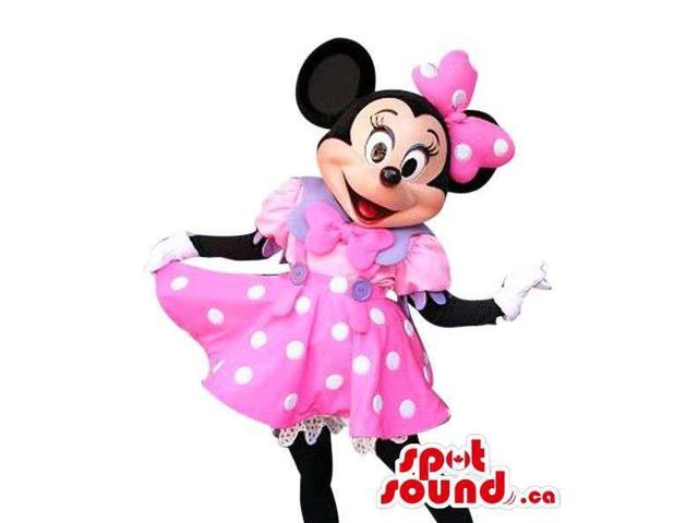 Minnie Mouse Disney Cartoon Character Canadian SpotSound Mascot In A Pink Dress