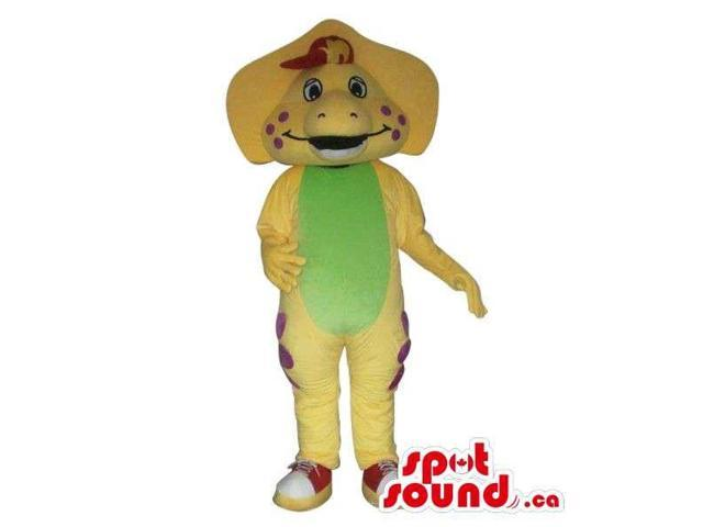 Cute Yellow Dinosaur Plush Canadian SpotSound Mascot With A Flashy Green Belly