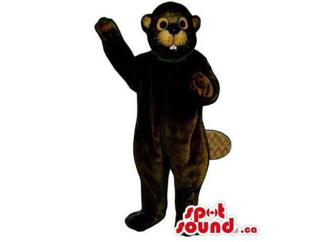 Customised Brown Beaver Animal Canadian SpotSound Mascot With Peculiar Teeth