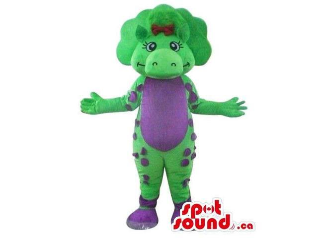 Cute Green Dinosaur Plush Canadian SpotSound Mascot With A Flashy Purple Belly