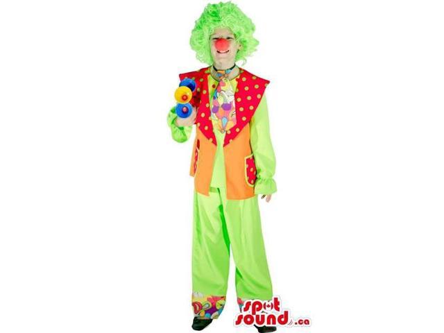 Clown Adult Size Costume With Green Wig And Red Nose