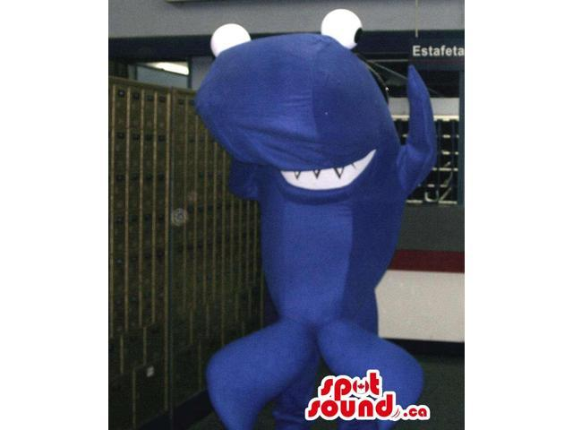 Peculiar Dark Blue Shark Canadian SpotSound Mascot With Huge Round Eyes