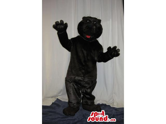Customised All Black Bear Plush Canadian SpotSound Mascot With A Red Tongue
