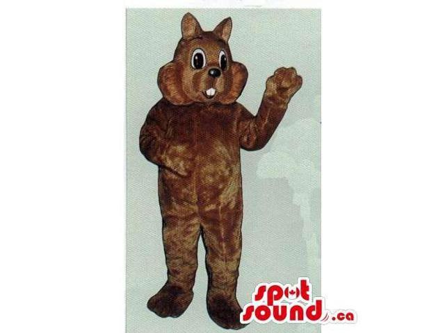 Customised All Brown Cat Canadian SpotSound Mascot With Peculiar Teeth