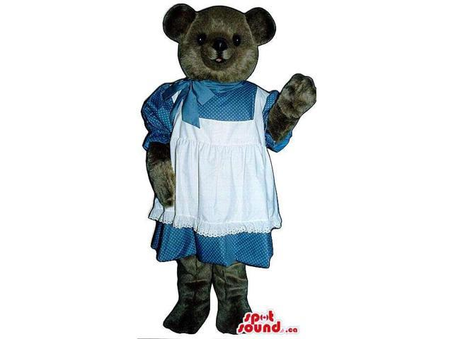 Grey Bear Plush Canadian SpotSound Mascot Dressed In A Blue And White Apron