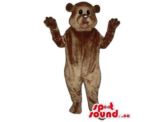 Customised All Brown Bear Forest Canadian SpotSound Mascot With Round Black Eyes