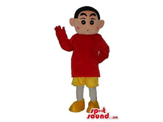 Shin Chan Japanese Cartoon Canadian SpotSound Mascot Dressed In Yellow And Red Gear