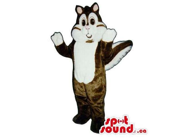 Customised Brown Chipmunk Canadian SpotSound Mascot With A White Face And Paws
