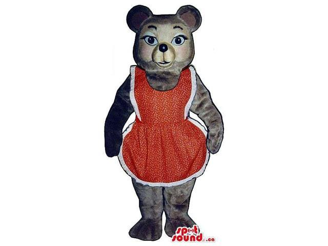Grey Bear Plush Canadian SpotSound Mascot Dressed In A Red And White Apron