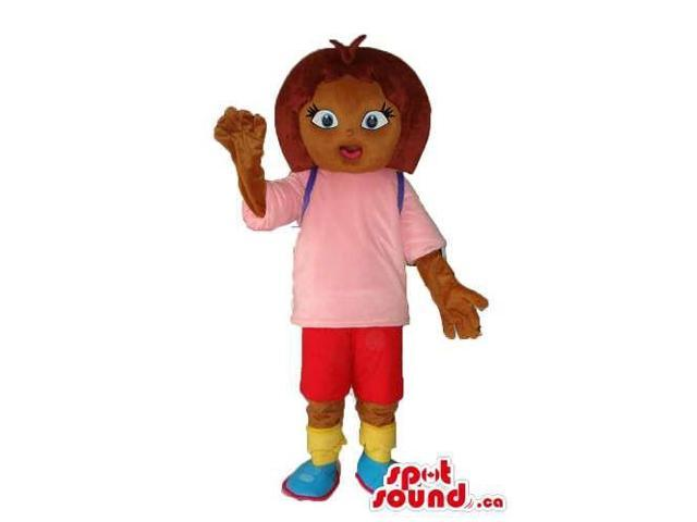 Brown Girl Cartoon Canadian SpotSound Mascot Dressed In Pink And Red Gear