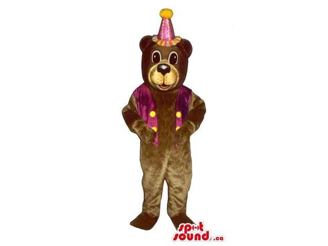 Brown Bear Plush Canadian SpotSound Mascot Dressed In A Purple Party Hat And Vest