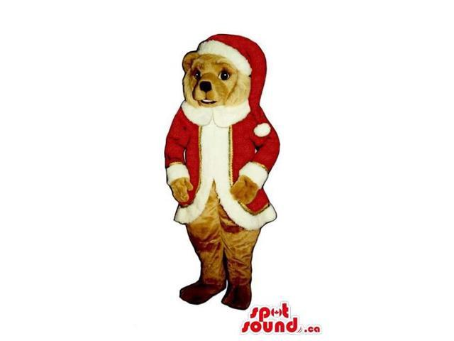 Brown Dog Plush Canadian SpotSound Mascot Dressed In Santa Claus Clothes