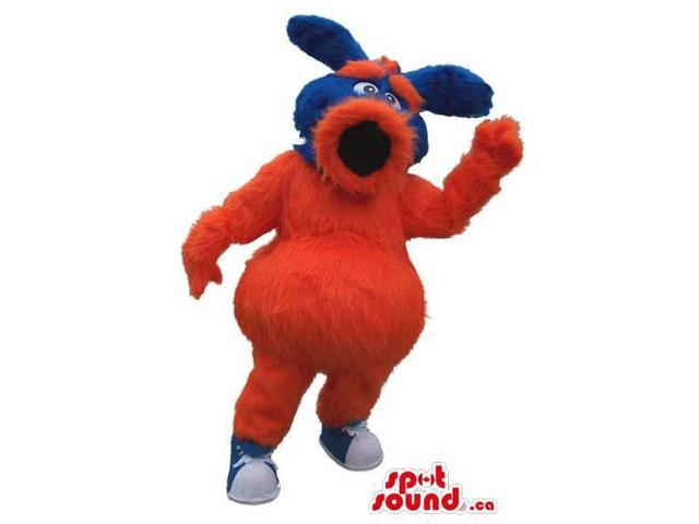 Red And Blue Woolly Canadian SpotSound Mascot With A Large Round Mouth And Ears