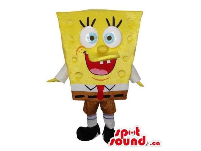 Sponge Bob Square Pants Cartoon Character Canadian SpotSound Mascot With Large Eyes