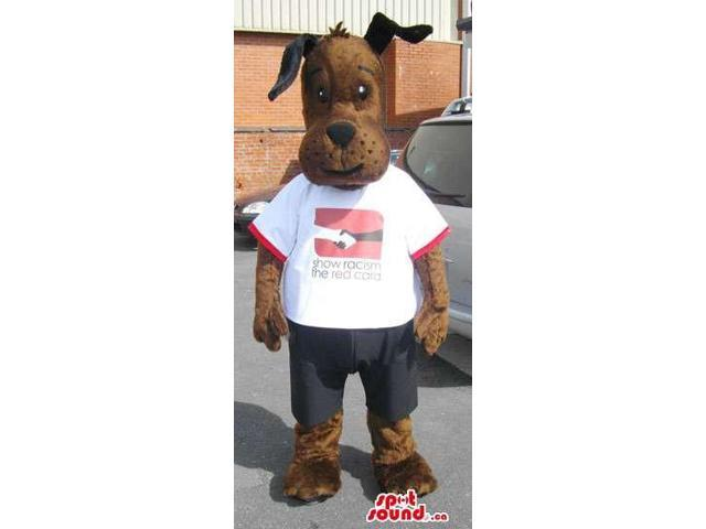 Cute Brown Dog Plush Canadian SpotSound Mascot Dressed In A White T-Shirt With Logo
