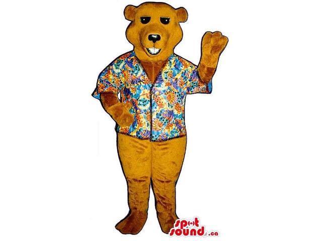 All Brown Bear Plush Canadian SpotSound Mascot Dressed In A Hawaiian Shirt