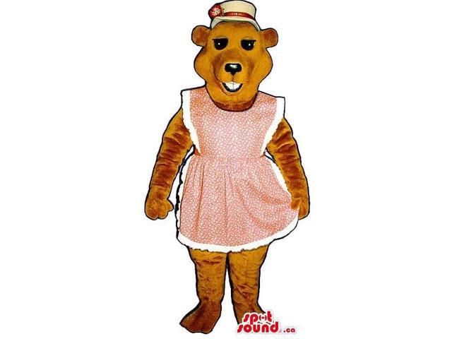 A Brown Bear Plush Canadian SpotSound Mascot Dressed In A Pink Apron And A Hat