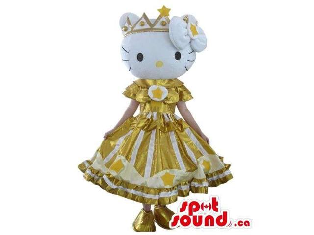 Well-Known Kitty Character Plush Canadian SpotSound Mascot Dressed In A Golden Dress