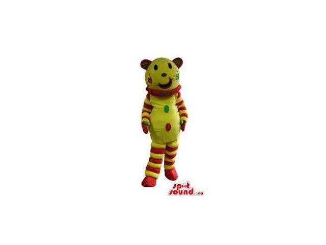 Fairy-Tale Yellow Bear Plush Canadian SpotSound Mascot With Stripes And Dots