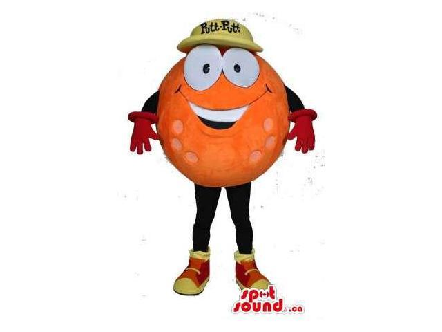 Orange Golf Ball Canadian SpotSound Mascot Dressed In A Yellow Cap With Text