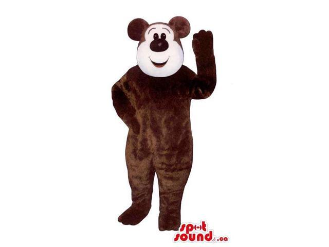 Customised Dark Brown Bear Plush Canadian SpotSound Mascot With A Round White Face