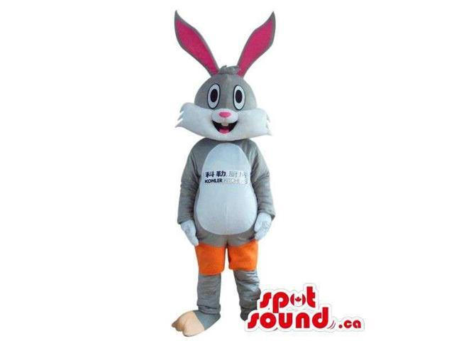 Rabbit Plush Canadian SpotSound Mascot Dressed In Knee Pads And A Shirt With A Logo