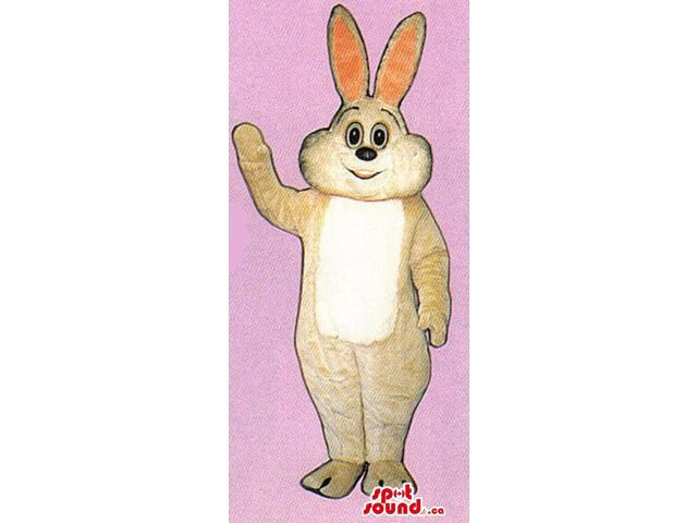 Beige Bunny Plush Canadian SpotSound Mascot With A White Belly And Long Ears
