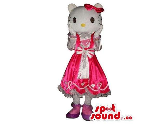 Kitty Character Plush Canadian SpotSound Mascot Dressed In A Pink Dress With A Ribbon